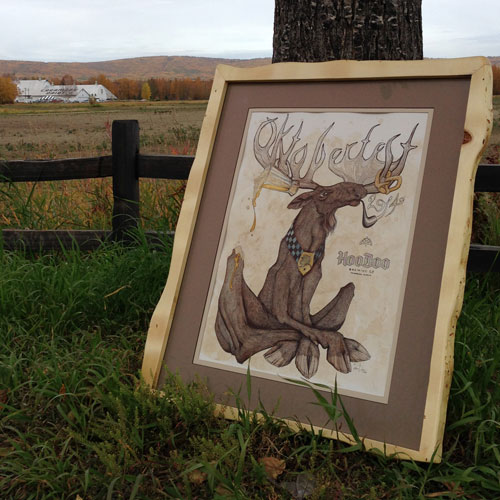 Original artwork measures 19″x24″. Pen & Ink & watercolor on Bristol. The frame is historic white spruce from Creamer's Field.